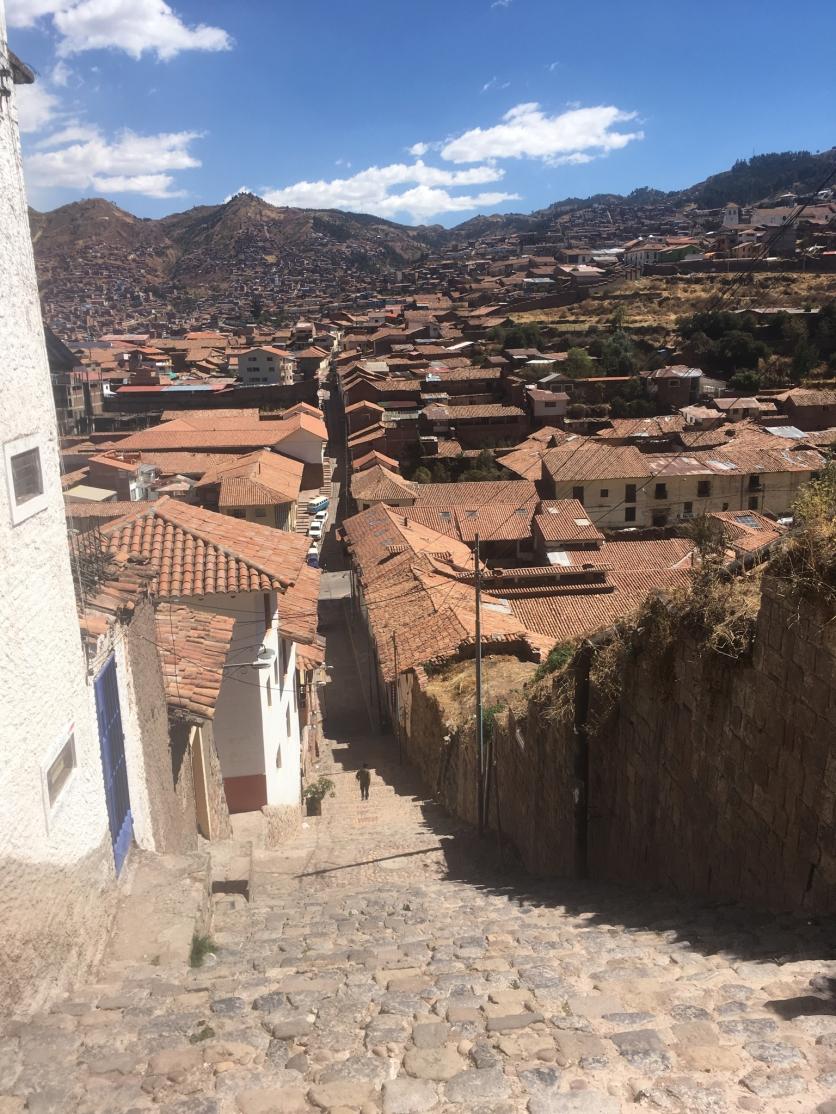one of many steep walkways